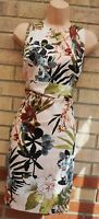 PALE PINK MULTI COLOUR FLORAL SLEEVELESS BODYCON TUBE PENCIL SUMMER DRESS 14 L