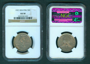 1921 50 Centavos US Philippine United States of America Silver Coin NGC AU58