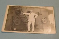WWI Era US Navy Officer Posing With Fire Hose On Board Ship Real Photo Postcard