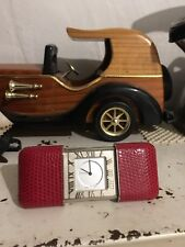 Tiffany & Co Vintage Atlas Travel Clock VERY **RARE** Red Snake skin Embroidery
