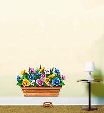Window Basket Flower Box Floral Bedroom Wall Art Sticker