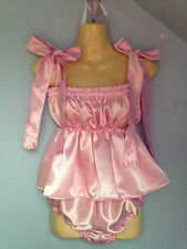 pink satin dress + pants adult baby fetish sissy french maid cosplay 36-48