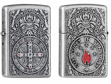 Zippo Medal Emblem Limited Antique Silver Both Side Cross Kreuz 2005176 Neu