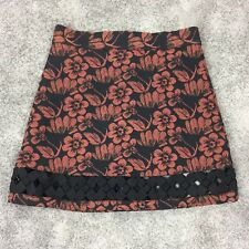 New TOPSHOP Mini Skirt Size 10 UK Black Rust Floral Print Woven Thick Winter