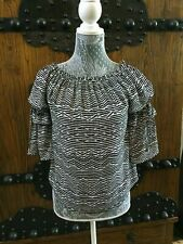 WHITE HOUSE BLACK MARKET ZEBRA OFF THE SHOULDERS SHADOW STRIPE TOP EUC SZ S 4 6
