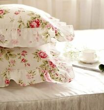 Pair of Vintage Style Red Roses Garden Ruffles Cotton Standard Pillowcase Sham