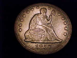 1857-O Seated Liberty Quarter in Extra Fine grade.