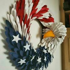 Americana Patriotic American Eagle Flag Wood Curl Wreath P1J9