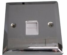 Polished Chrome Telephone Point Socket 1 Gang Secondary Extension White Insert