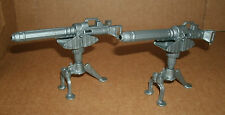 "Two 1/18 Scale Machine Gun Posts For 3.75"" Action Figures Gatling Firearm Weapon"