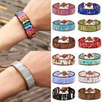 7 Chakra Bracelet Handmade Natural Stone Beaded Leather Wrap Bangle Jewellery