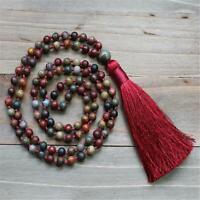 8mm Natural Red Creek Jasper 108 Beads Tassel Knotted Necklace Reiki Meditation