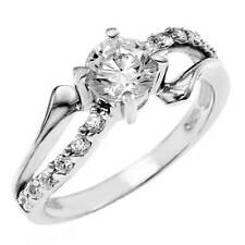 Elegant 925 Sterling Silver Cubic Zirconia Round CZ Dress Ring  Size 6, NEW
