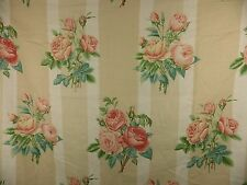 Shabby Chic Rose Floral Linen Fabric Curtain Remnant Lee Jofa Honfleur 4.5m