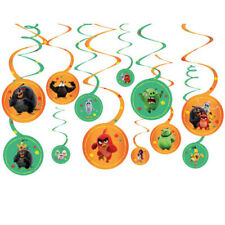 ANGRY BIRDS 2 HANGING SWIRL DECORATIONS (12) ~ Birthday Party Supplies Ceiling