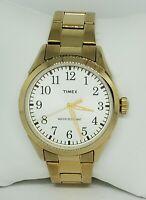 Mens Timex Stainless Gold Tone Link Bracelet Easy Reader Analog Quartz Watch C5
