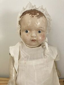 """Vintage Antique Composition doll 23"""" HUGE BABY WITH bonnet & outfit RARE"""