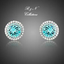 Platinum Plated Made W/Swarovski Stud Earrings W/Rows of Micro Crystals E609-32