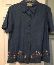 Jane Ashley Denim Embroidered Blouse Shirt Womens M Floral Button Short Sleeve