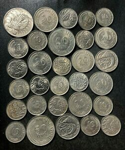 Old Singapore Coin Lot - 1967-1981 - 30 OLDER TYPE Coins - Lot #L21