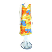 JAMS WORLD Floral Yellow Red Blue Watercolor Print Pocket Maxi Dress sz S /763