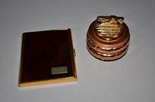 SET Vintage Cigarette Case and Lighter ~Gold Tortoise and Brass/copper/gold tone