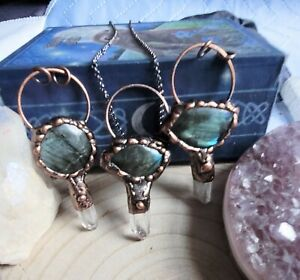 labradorite and clear quartz magic key  necklace crystal healing spiritual