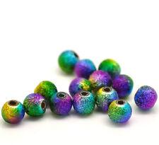 100 bellissimi di alta qualità Stardust Luminoso Arcobaleno in metallo Glitter Round Beads 6mm