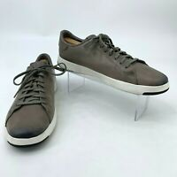 Cole Haan Grand Pro Shoes Men's Size 10 M Grey Leather Lace Up Tennis Sneaker