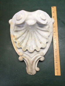 Antique Hand Carved White Marble Stone Architectural Salvage Wall Corbel Shelf