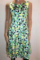 Leoni Brand White Green Floral Print Sleeveless A Line Dress Size 10 BNWT #BEL