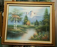 CRANE ORIGINAL OIL PAINTING ON CANVAS MOUNTAIN SCENERY SIGNED