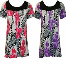 Womens Ladies Plus Size Floral Print Stretch Tunic Smock Long Top Dress 14 to 28