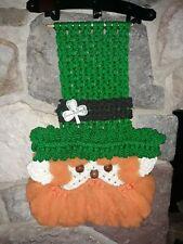 Vintage Macrame Leprechaun Saint Patricks Day Wall Hanging
