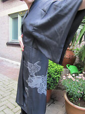 mint/vtg/Edo/navy long kimono, nakajuban,dragon motifs,white tie dye, shibori, L