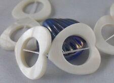 1 Strand White Shell Heart Donut Loose Beads 25mm E872