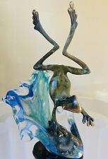 Bronze Petina Jumping Frog Mounted In Glass Signed By Artist