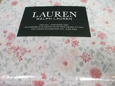 New Ralph Lauren Cotton 4pc White Coral Gray Pink Floral Sheet Set - Cal King
