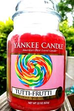 "Yankee Candle ""TUTTI FRUTTI"" Fruit Scented Large 22 oz. WHITE LABEL ~ NEW!"