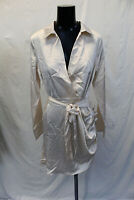 Boohoo Women's Long Sleeve Satin Wrap Detail Dress ML3 Nude Size US:10 UK:14 NWT