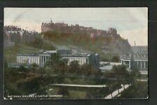 L@@K  National Gallery & Castle Edinburgh ~ 1905 Postcard