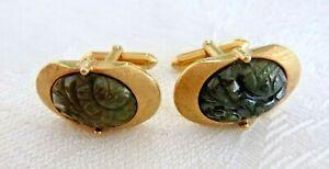 Vintage Cuff Links Carved Black Jade Flowers Cufflinks Gold Plated