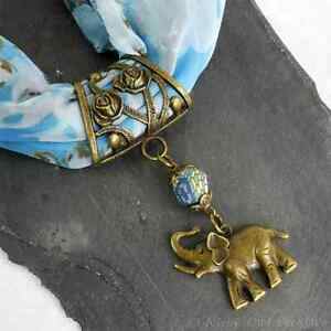 Elephant Scarf Ring, Clip, Handmade Bronze Tone Pendant, Blue Mosaic Beading