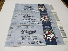 * * ** 2009,3- Padres/Milwaukee Brewers Petco Park tickets and 2 Breakfast Menus