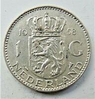 1958 NETHERLANDS Juliana, Silver 1 Gulden grading EXTRA FINE.
