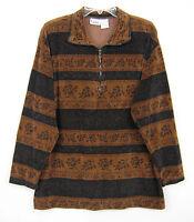 Capacity Knits Collar Blouse Women Size L Brown 1/4 Zip Floral Stripe Velvet