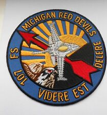 RAF/USAF squadron  cloth patch  Michigan red devils 107 FS VIDERE EST