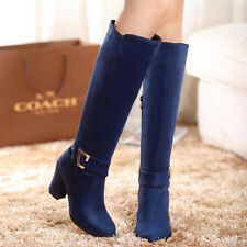 Womens Ladies Buckle Strap High Heel Knee High Boots Shoes AU Size 2.5--13 B116