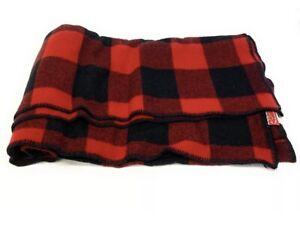 Vintage Marlboro Country Store Wool Blend Red/Black Plaid Check Blanket 58x72