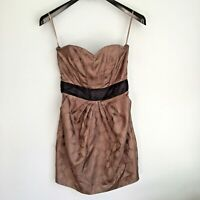 NEW H&M Taupe Black Strapless Sleeveless Cocktail Dress Size 6 Pockets Lined NWT